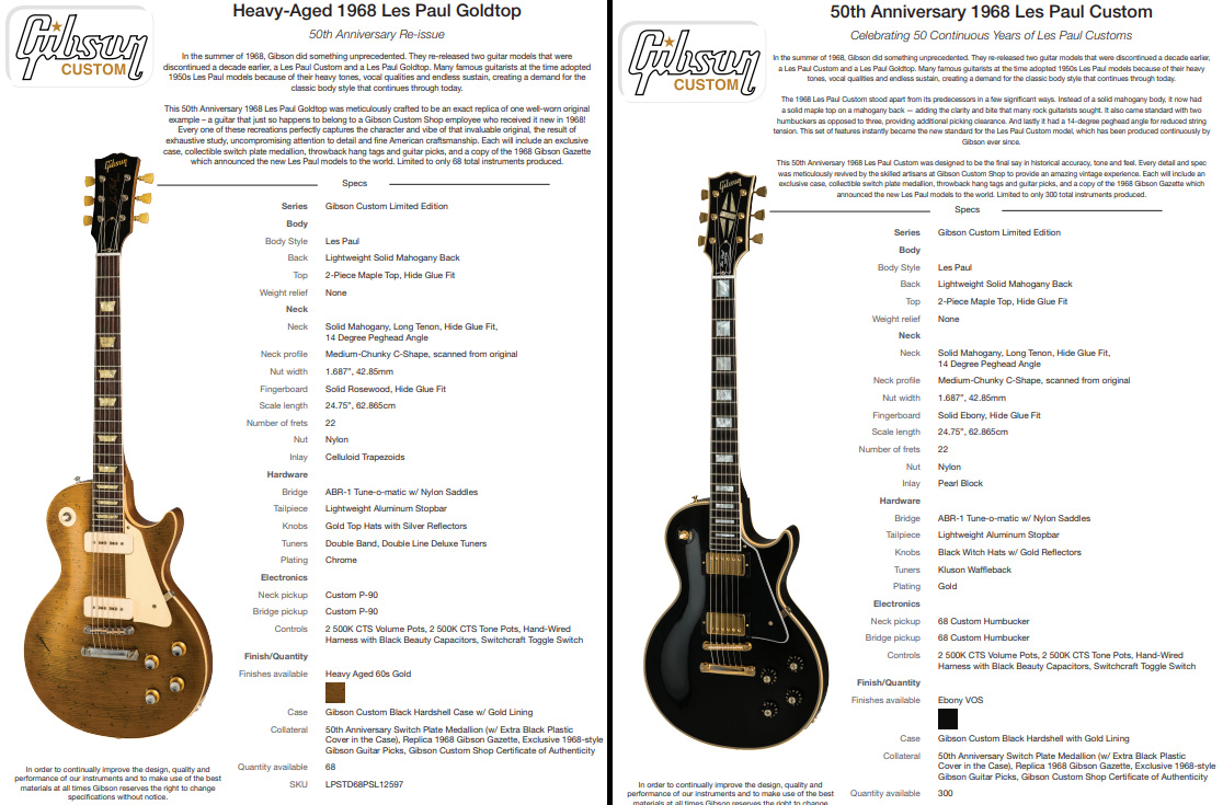 1968 Les Paul And 1969 Serial Number Information Guitar Tone Capacitors Also Gibson Wiring Further Features Of 50th Anniversary Instruments Source Custom
